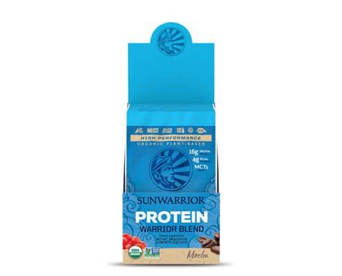 sunwarrior warrior blend mocha proteine vegetali in polvere 12 monodosi